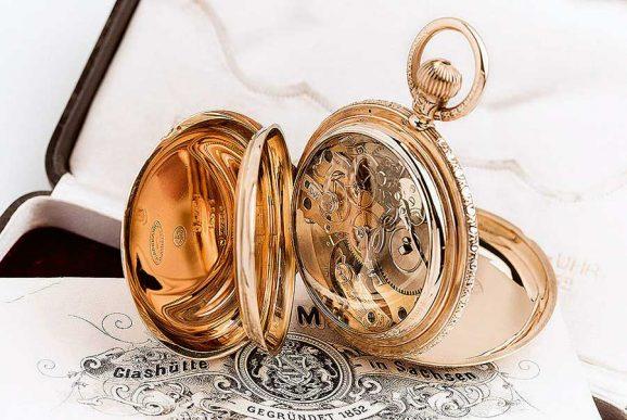 Werkansicht einer Glashütter Taschenuhr