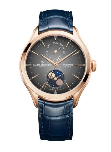 Baume & Mercier: Clifton Baumatic Tag-Datum, Mondphase