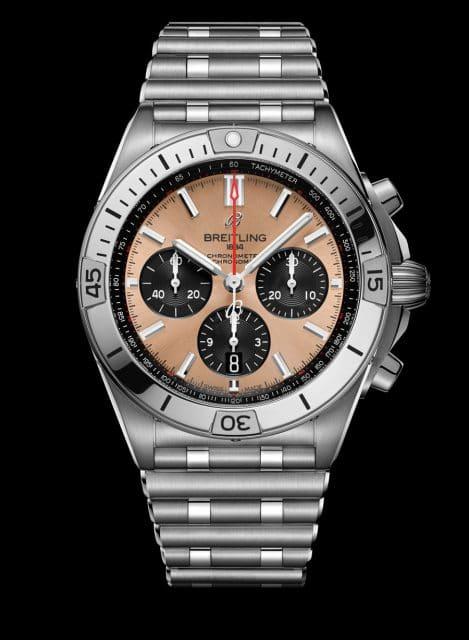 Breitling: Chronomat B01 42 mit lachsfarbenem Zifferblatt
