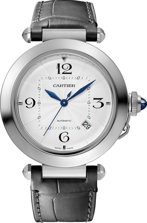 Cartier: Pasha de Cartier, 41 Millimeter, Edelstahl, Lederband