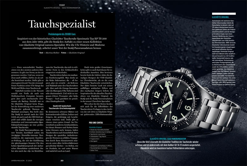 Produkt: Download: Test der Glashütte Original SeaQ Panoramadatum