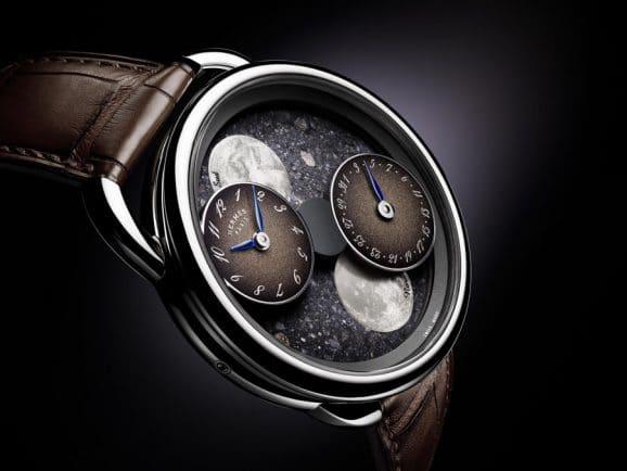 Hermès: Neue Version der Arceau L'heure de la lune mit Meteoritenzifferblatt und braun lackierten Hilfszifferblättern