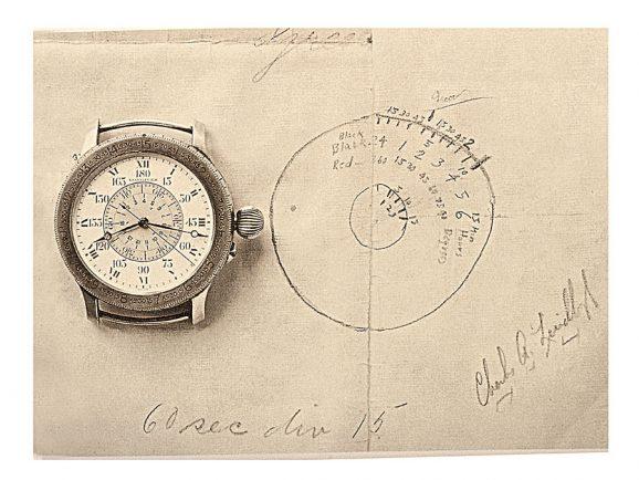 Charles Lindberghs Zeichnung für die Longines-Stundenwinkeluhr