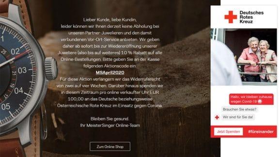 Meistersinger spendet 100 Euro je verkaufter Uhr an den Corona-Fonds des Roten Kreuzes-DRK