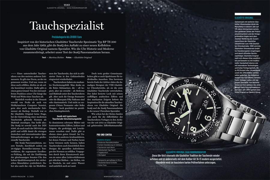 UHREN-MAGAZIN Heft 3/2020: Exklusivtest der Glashütte Original SeaQ
