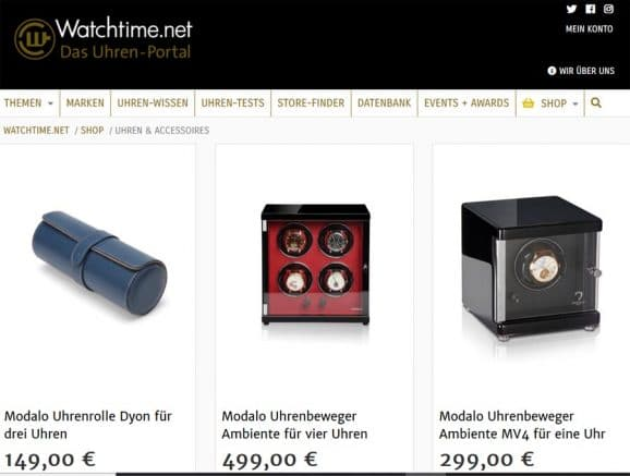 Im Watchtime.net-Shop gibt es neben Uhren-Zeitschriften auch Accessoires und exklusive Uhren-Modelle.