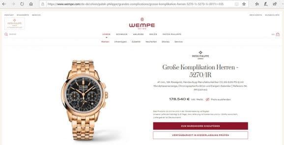 Patek Philippe ist mittlerweile auch online erhältlich, beispielsweise bei Wempe