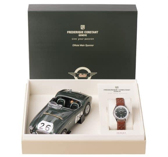 Die Frederique Constant Vintage Rally Healey Automatic wird in einer Sammelbox mit Miniaturauto geliefert