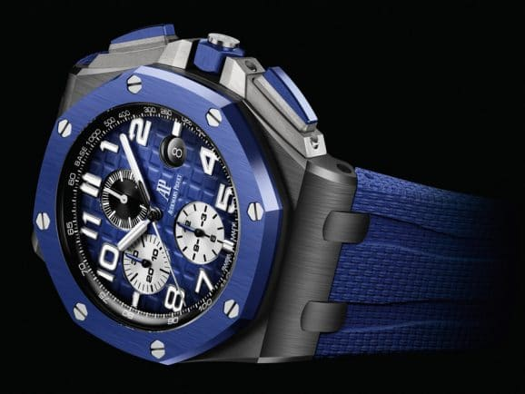 Audemars Piguet: Royal Oak Offshore Chronograph in schwarzer Keramik mit blauem Zifferblatt