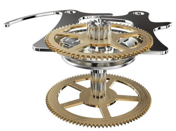 Vertikale Kupplung (Montblanc): Öffnet sich die Zange beim Starten des Chronographen, so werden die Scheiben aufeinandergepresst und das Gehwerk mit dem Stoppmechanismus verbunden