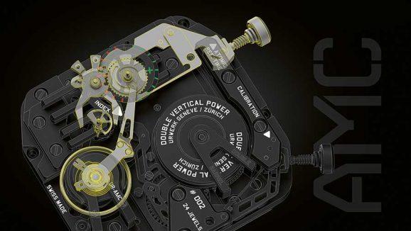 Gangregulierung: Je nachdem, wie sich die Schere um die Halbkreisscheibe schließt, erfolgt die Feineinstellung des Uhrwerks.