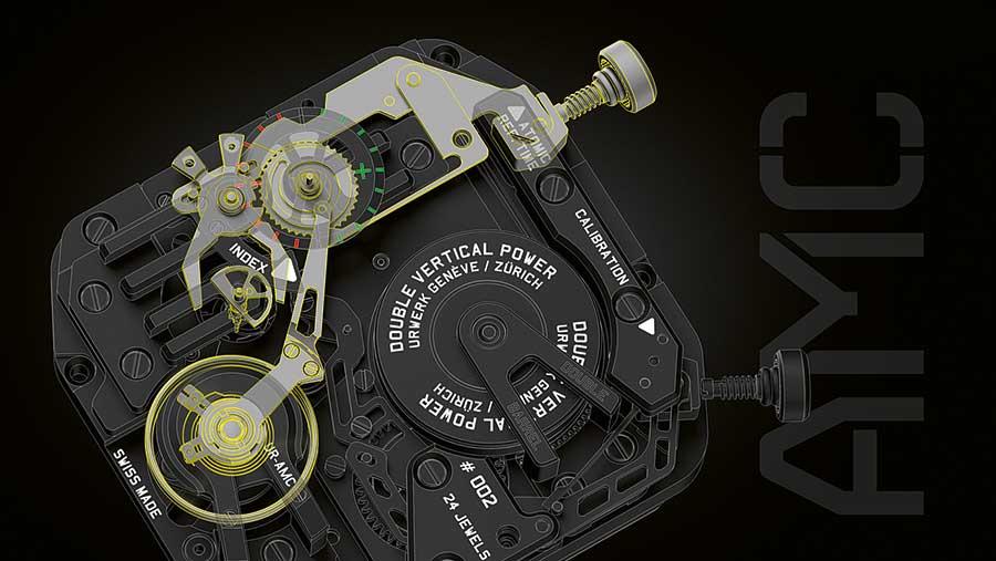 Urwerk Project AMC: Gangregulierung: Je nachdem, wie sich die Schere um die Halbkreisscheibe schließt, erfolgt die Feineinstellung des Uhrwerks.