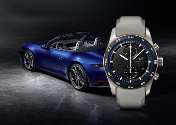 Porsche Design Custom-Built Timepieces in Enzianblau mit schiefergrauem Band passend zum 911 Cabrio