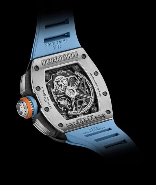Der Richard Mille: RM 11-05 Automatic Flyback Chronograph GMT wird vom Manufakturkaliber RMAC3 angetrieben