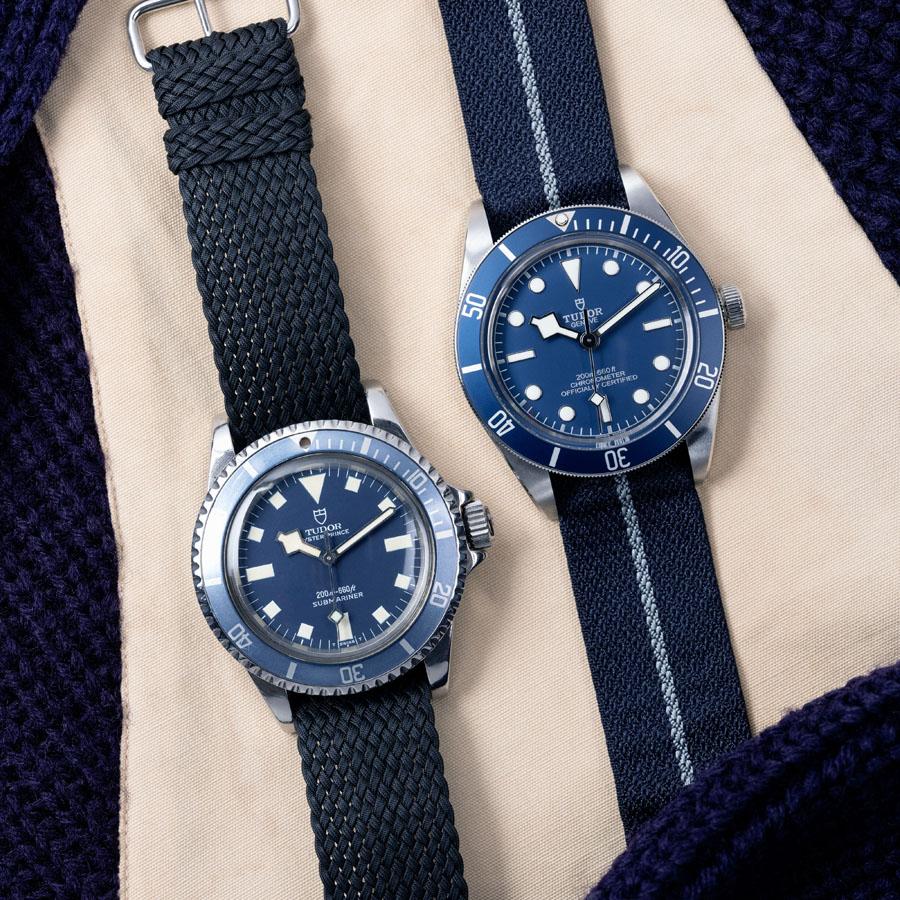 Tudor: Die Black Bay Fifty-Eight Navy Blue von 2020 (rechts) und ihr Vorläufer von 1969