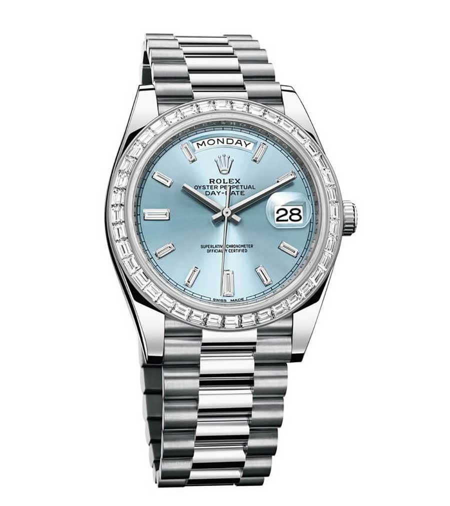 Rolex: Oyster Perpetual Day-Date 40, in Platin, mit Diamant-Lünette und Diamant-Zifferblatt