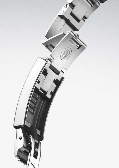 Rolex: Oysterlock-Schließe mit Fliplock (am Band), anschließendem Easylink und Glidelock