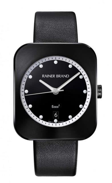 Rainer Brand: Ecco², geschwärzt, mit schwarzem Zifferblatt und weißem Rehaut