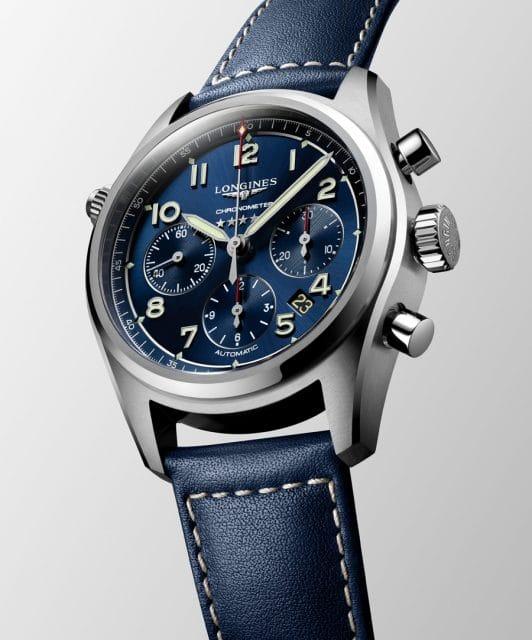 Longines Spirit L38204930 mit blauem Lederband