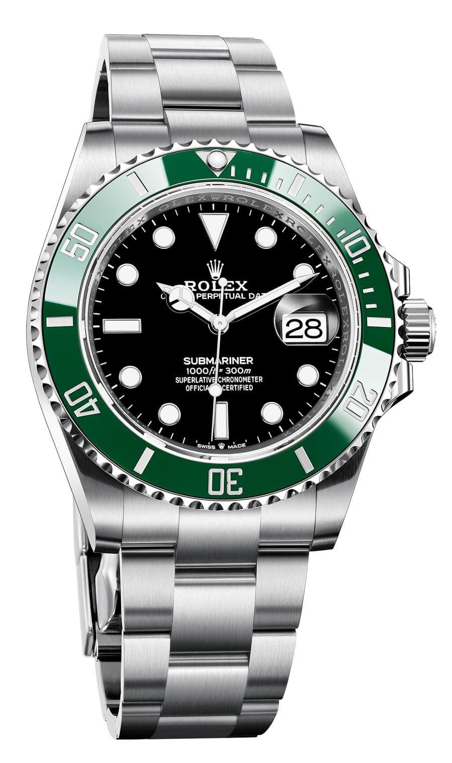 Neu 2020: Rolex Oyster Perpetual Submariner Date in Stahl mit schwarzem Zifferblatt und grüner Keramiklünette