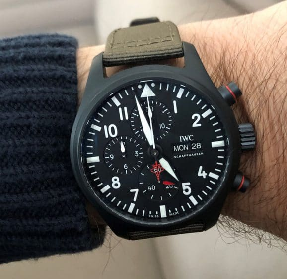 "Die IWC Pilot's Watch Chronograph Top Gun Edition ""SFTI"" am Arm"