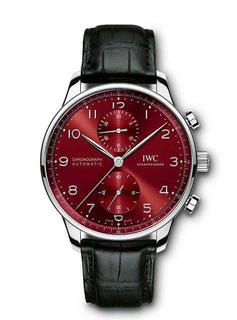 IWC Portugieser: Chronograph mit burgundyfarbenem Zifferblatt