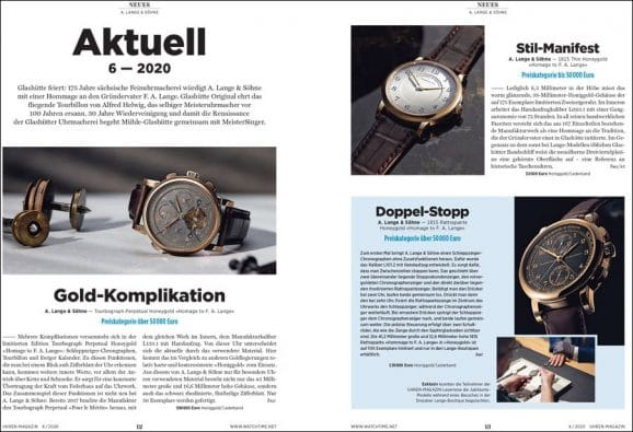 UHREN-MAGAZIN-Ausgabe 6/2020: 175 Jahre Uhrmacherei in Glashütte