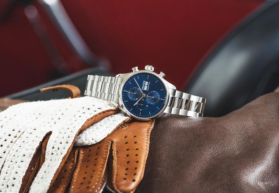 Union Glashütte: Viro Chronograph mit blauem Zifferblatt und Edelstahlband