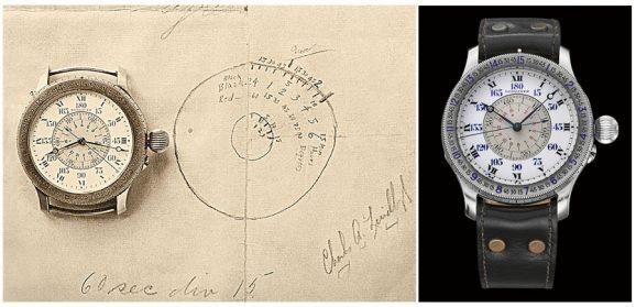 Longines: Stundenwinkeluhr-Zeichnung und Modell im Vergleich