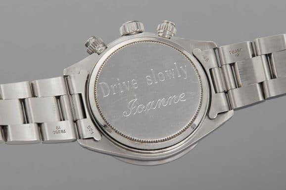 """Rückseite der Rolex Cosmograph Daytona """"Big Red"""" Referenz 6263 von Paul Newman"""