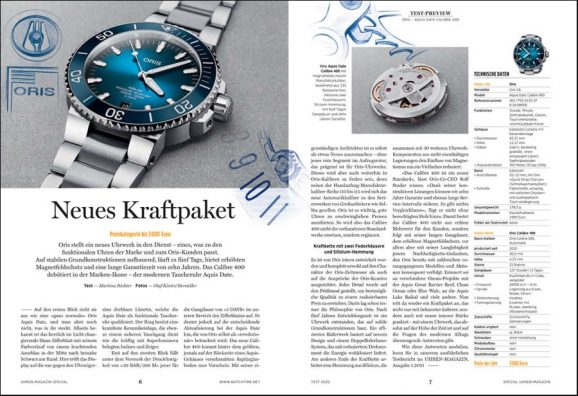 UHREN-MAGAZIN Sonderheft Test 2020 - Preview der Oris Aquis Date Calibre 400