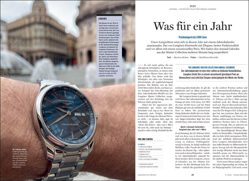 Produkt: Longines The Master Collection Annual Calendar im Test