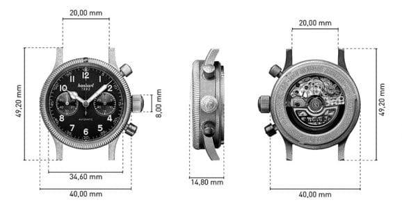 Hanhart: Pioneer Mk II 80 Jahre Jubiläum mit Edelstahlgehäuse Technische Daten