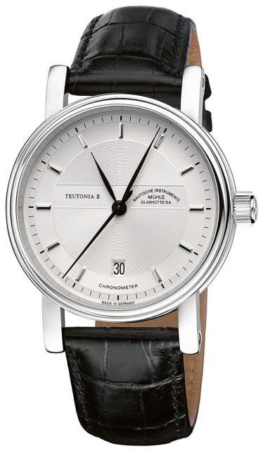 Mühle Glashütte: Teutonia II Chronometer mit Chronometerzertifikat der Glashütter Sternwarte und Edelstahlgehäuse