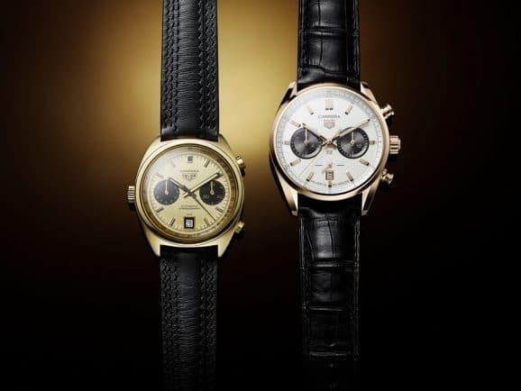 TAG Heuer: Carrera Jack Heuer Birthday Gold Limited Edition (rechts) und die historische Carrera 1158CHN