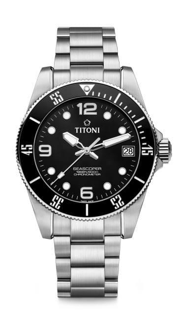 Titoni: Seascoper 600 mit schwarzem Zifferblatt