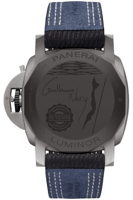 Gehäuserückseite der Panerai Luminor Marina 44mm – Guillaume Néry Edition (PAM01122) mit Gravur