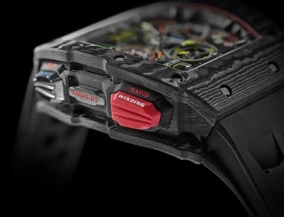 Richard Mille RM 65-01 Automatic Split Second Chronograph: Über den roten Drücker wird der Schnellaufzugsmechanismus aktiviert