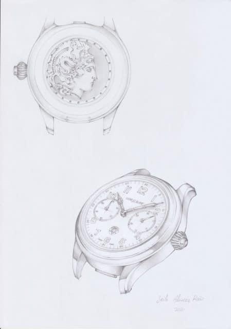 Montblanc 1858 Monopusher Chronograph Origins: Zeichnung von Vorder-und Rückseite