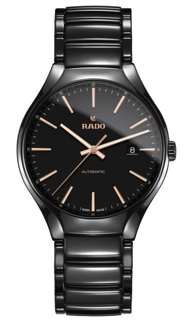 Rado: True Automatic in 40 Millimetern mit schwarzem Zifferblatt und roségoldfarbenen Indexen und Zeigern