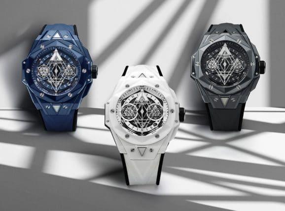 Hublot: Big Bang Sang Bleu II in blauer, weißer und grauer Keramik