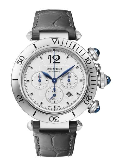 Cartier: Pasha de Cartier Chronograph in Edelstahl mit Lederband