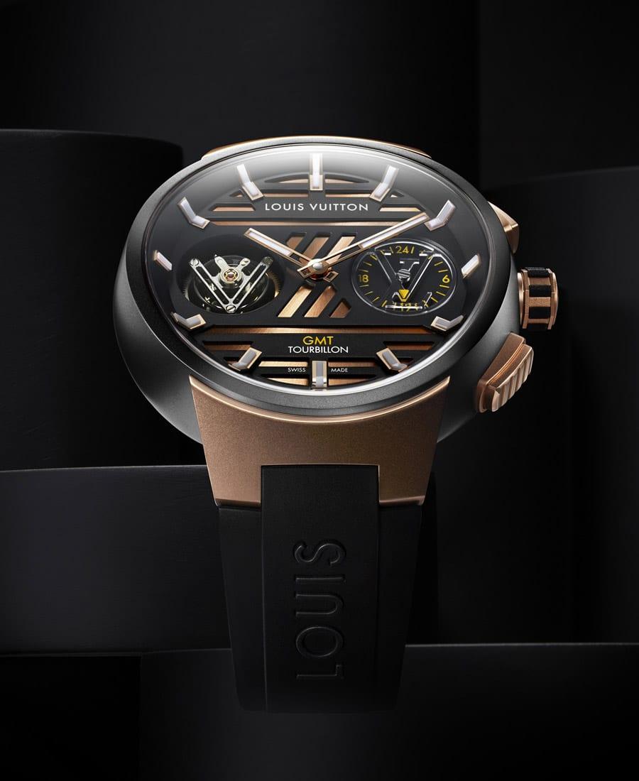 Louis Vuitton Tambour Curve GMT Flying Tourbillon in Titan und Rotgold