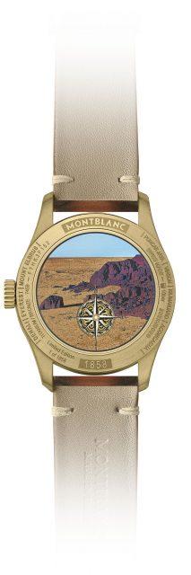 Montblanc: Die Rückseite der 1858 Geosphere Limited Edition Gobi Desert zeigt die Wüste Gobi