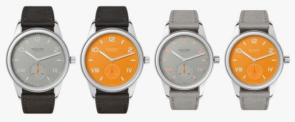 "Nomos Glashütte: Club Campus in den Farben ""Absolute Gray"" und ""Future Orange"""