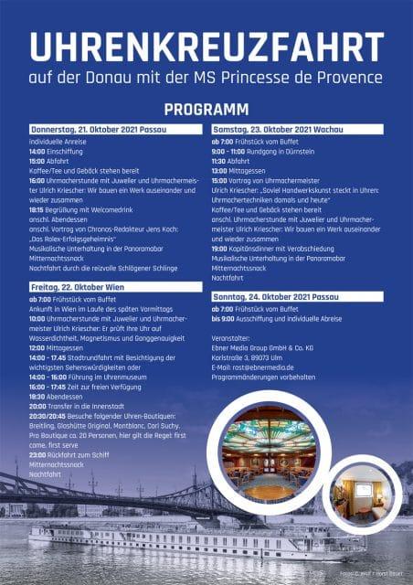 Uhrenkreuzfahrt Donau: Programm 2021