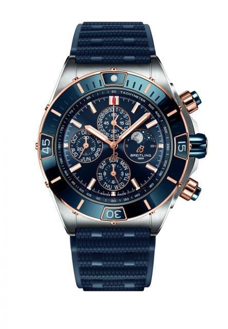 Breitling: Super Chronomat B01 44 Four-Year Calendar blaue Variante mit roségoldenen Details
