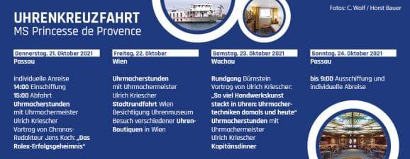 Uhrenkreuzfahrt Donau 2021: Kurzprogramm