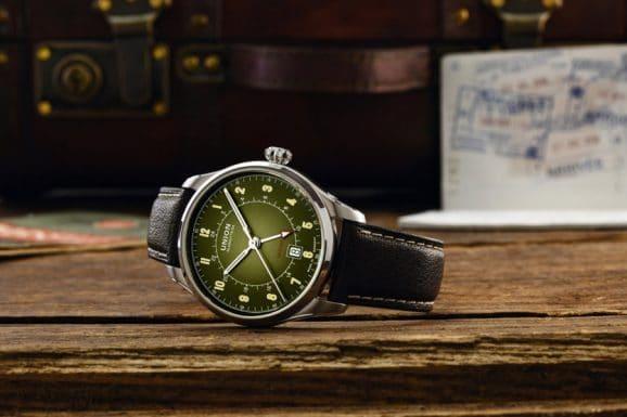 Union Glashütte: Belisar Zeitzone mit olivgrünem Verlaufszifferblatt