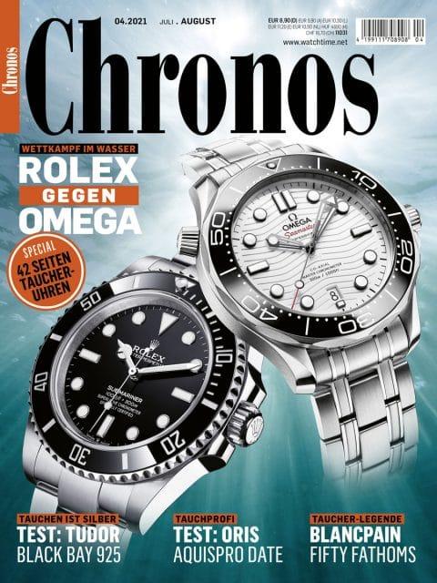 In Chronos 04.2021 treten die verschiedenen Taucheruhren von Rolex und Omega gegeneinander an